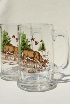 vintage glass beer steins, deer in the pine trees color print glass mugs