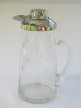 Vintage glass & chrome mixed drinks pitcher with retro atomic starbursts