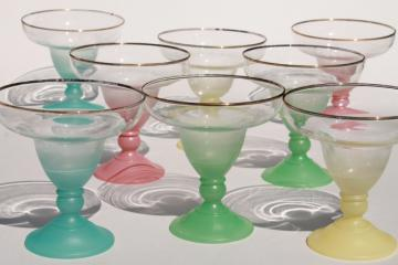 vintage glass ice cream sundae dishes, blendo color fade ombre pastel colors