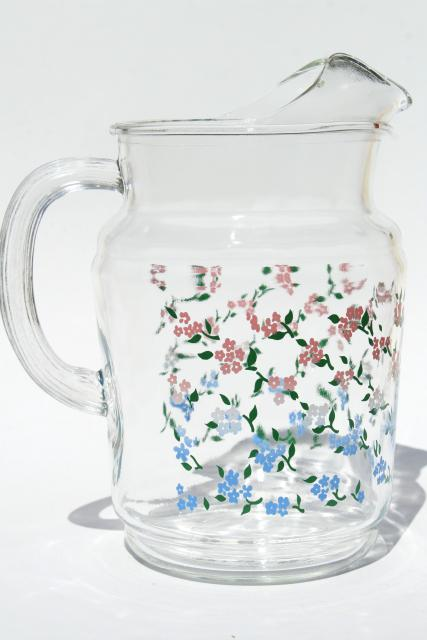 Vintage Glass Lemonade Pitcher Country Kitchen Pink
