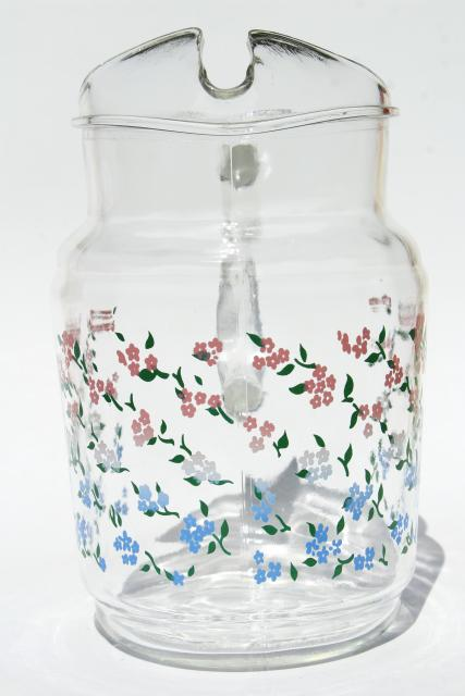 vintage glass lemonade pitcher, country kitchen pink & blue tiny sprigged flowers print