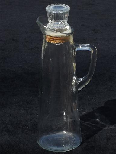 Vintage glass liquor bottle decanter w pitcher handle for Easy break glass bottles