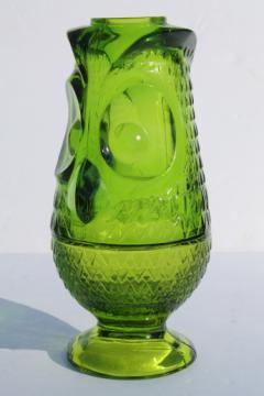 Vintage glass owl candle lamp fairy light, lime green Viking glass candleholder