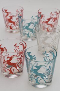 vintage glass tumblers w/ leaping gazelle deer in red white blue, deco mod glasses set