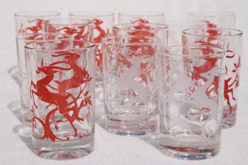 vintage glass tumblers w/ leaping gazelle deer in red & white, deco mod glasses setvintage glass tumblers w/ leaping gazelle deer in red & white, deco mod glasses set
