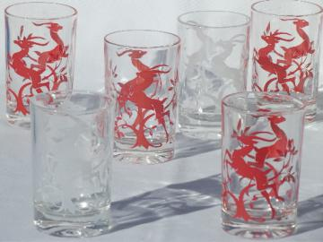 Vintage glass tumblers w/ red & white gazelle, 50s deco mod glasses set