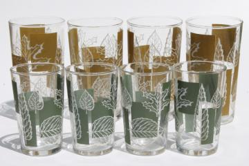 vintage glass tumblers set, drinking glasses w/ mod color block and white leaf print