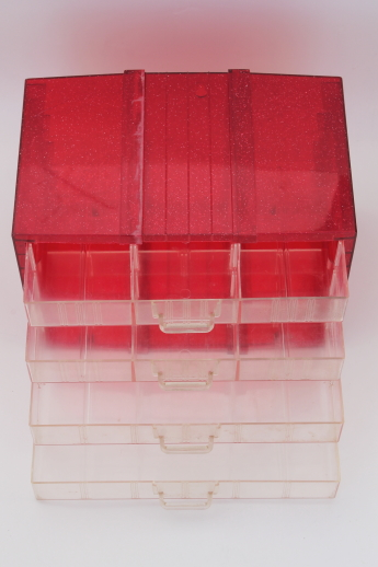 Vintage glitter plastic storage drawers organizer box, sewing or craft supply box