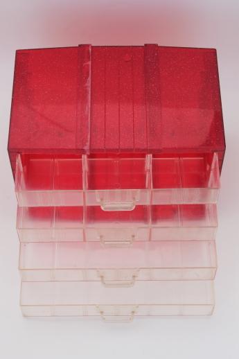 Vintage Glitter Plastic Storage Drawers Organizer Box