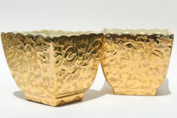 vintage gold encrusted ceramic planter pots, pair of square flower box cachepots