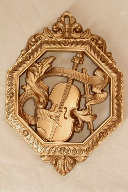 vintage gold plastic plaques, renaissance musical instruments, music wall art