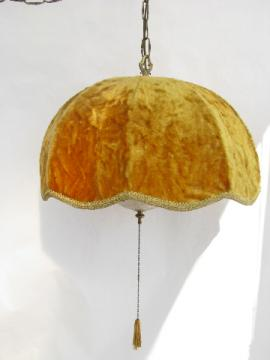 Vintage gold velvet swag chain lamp, huge hanging light, groovy 60s retro!