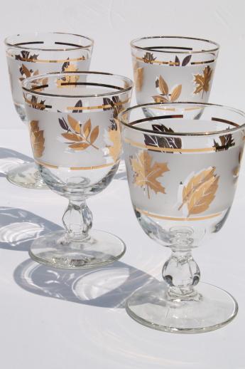 Vintage Golden Foliage Gold Leaf Pattern Libbey Glasses Wine Or Water Goblets