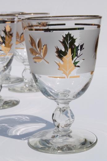 Vintage Bar Cart >> Vintage Golden Foliage gold leaf pattern Libbey glasses, wine or water goblets