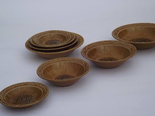 vintage golden seville stoneware dishes spanish moorish design in black - Stoneware Dishes