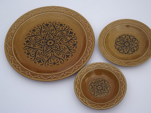vintage golden seville stoneware dishes spanish moorish design in black
