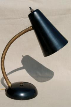Vintage gooseneck desk lamp, mid-century mod metal shade work / task light