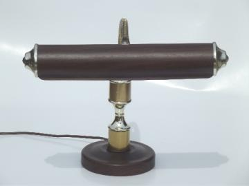 Vintage gooseneck desk lamp, retro woodgrain & brass adjustable light