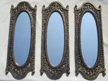 Vintage gothic / spanish colonial style triptych wall frames mirrors set