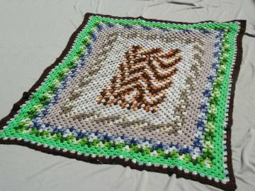 Vintage granny square crochet afghan, crocheted blanket in retro colors