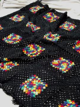 Vintage granny squares crochet afghan blanket, black w/ rainbow bright colors