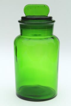 vintage green glass canister, large apothecary jar, bottle w/ glass stopper lid