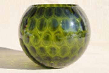 Vintage green glass coin spot dot lamp globe, hand-blown art glass light shade