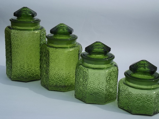 green glass kitchen canisters vintage green glass amp button kitchen counter 3987