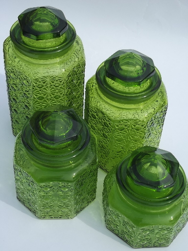 Vintage green glass daisy & button kitchen counter canister jars set