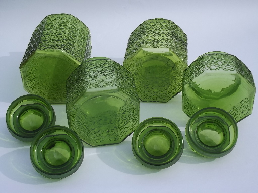 Exceptionnel Vintage Green Glass Daisy U0026 Button Kitchen Counter Canister Jars Set