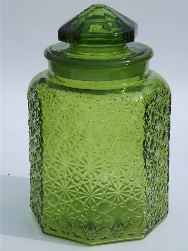 Vintage Green Glass Daisy Amp Button Kitchen Counter Canister Jars Set