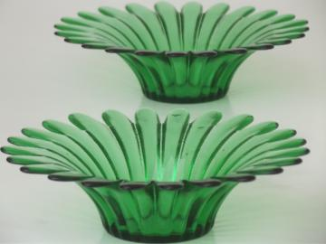 Vintage green glass flower bowls, retro daisy shape candle holders