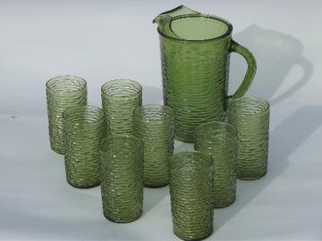 Vintage green glass pitcher & glasses set, retro Soreno crinkle glass