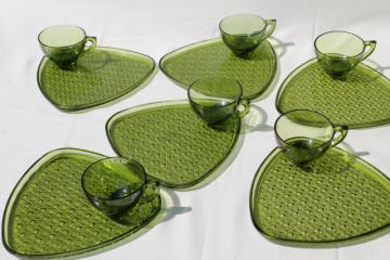 vintage green glass snack sets, daisy & button triangle plates & tea cups