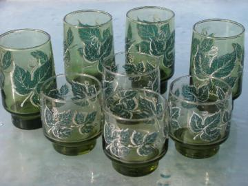Vintage green ivy Libbey glasses, tall and short, mod accent shape