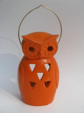 Vintage Halloween lantern, orange owl pottery candle lamp w/ handle, Japan