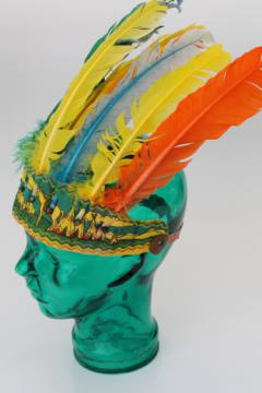 Vintage Halloween or cowboys & indians party costume, Indian chief war bonnet w/ turkey feathers