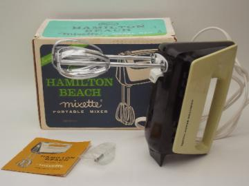 Vintage Hamilton Beach mixer, model 87 Mixette hand held mixer in box