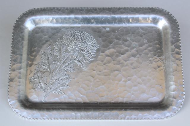 vintage hammered aluminum tray, chrysanthemum pattern Continental hand forged metal