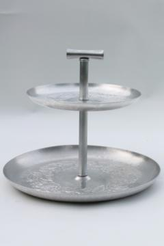 Vintage hammered aluminum two-tiered plate, sandwich serving tray w/ center handle