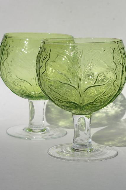 vintage hand blown glass goblets, green & yellow cabbage leaf Sigma Secla Portugal pottery go along