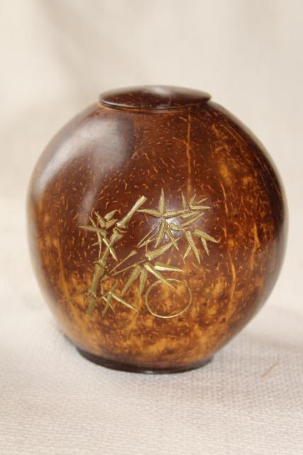 vintage hand carved gourd bowl w/ lid, bamboo design covered jar storage container