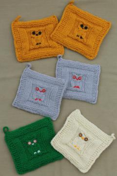 Vintage hand knitted owl potholders, set of 6 knit owls pot holders never used