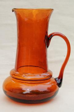 vintage hand-blown amber glass pitcher, retro 60s Colony glass Italy label