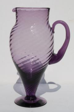 Vintage hand-blown art glass pitcher, tall martini pitcher in retro purple