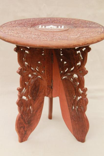 Vintage Hand Carved Indian Sheesham Wood Table W/ Folding Stand, Taj Mahal  Inlay Design