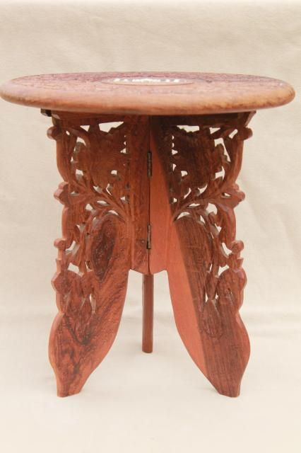 vintage hand-carved Indian sheesham wood table w/ folding stand, Taj Mahal inlay design
