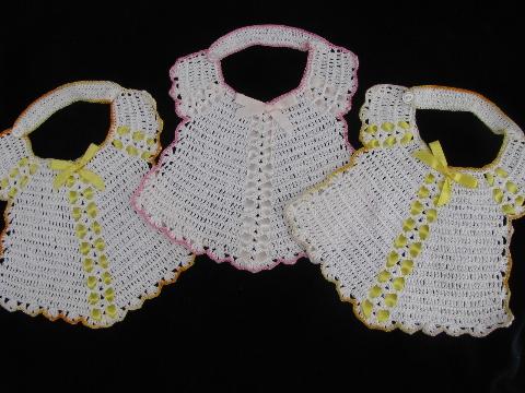 Thread Crochet Baby Bib Pattern : Vintage handmade baby bib lot, crochet cotton thread bibs ...