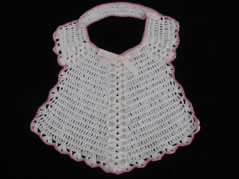 Crochet Cotton Baby Bib Pattern : Vintage handmade baby bib lot, crochet cotton thread bibs ...
