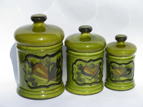 Vintage Hand Painted Rustic Pottery Kitchen Canisters, Retro Avocado Green